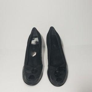 "Aerosoles 7.5 Black Suede Patent Leather 3"" Heels"